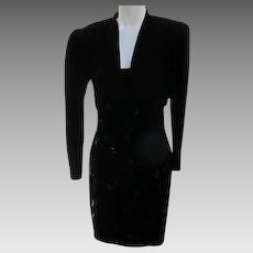 Black Evening Dress and Jacket  in Velvet 1980s Size 7/8