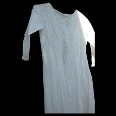 Victorian Era Gown White Pleated and Lace - Red Tag Sale Item