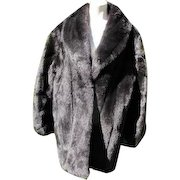Faux Fur Coat Retro Sable Fur Look Dark Like New Condition Size 16
