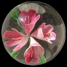 Glass Paperweight with Pink Flowers Vintage Glass - Red Tag Sale Item