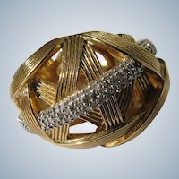 Designer Diamond Ring Stephen Dweck  Sterling Silver Gold Plated  Size 8 Pave