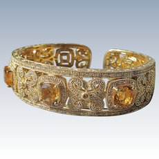 Cuff Bracelet of Sterling with Gold Overlay and Simulated Diamonds with Citrine Gemstones
