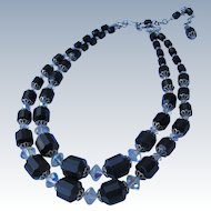 Necklace of Black with Crystal Glass Beads Two Strands