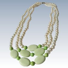 Cultured Pearl Necklace Three Strands with Green Stones and Sterling Silver Clasp