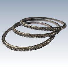 Three Rhinestone Bangle Bracelets 1980's Vintage