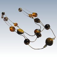 Beaded Glass Necklace Tiger Eye Stones Unused on Chain