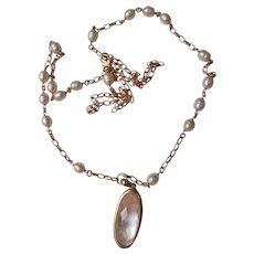 Necklace of Cultured Pearls Rose Bronze Long Chain Marked Bronze Italy.