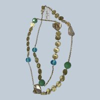 Park Lane Chain Necklace Unused with Label Glass Beads MOP Shell