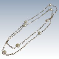 Pearl Necklace Chain with Large Genuine Baroque Pearls