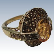 Ring in Gold Color Stones Sterling Silver Gold Vermeil Over 925 Size 8