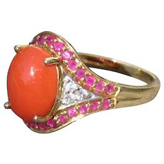 Sterling Ring with Gold Plate Coral Color Stone Size 8