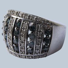 Costume Ring Sapphire and Diamonds Simulated Size 8
