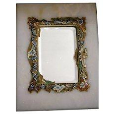 Antique Mirror French Champleve Enamel Inlay on Marble Stand Beveled