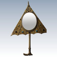 Jeweled Mirror for Wall or Hand Mirror in Shape of an Umbrella with Cabochons 1920's