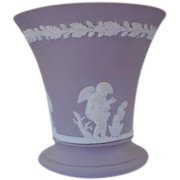 Wedgwood Vase in Lavender Taupe Marked England Cherubs