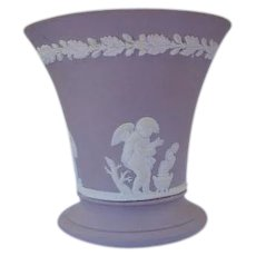 Wedgwood Vase in Lavender Taupe Marked England Cherubs - Red Tag Sale Item