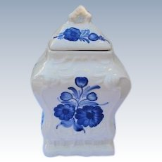 Polish Pottery Canister Ginger Jar Marked Wloclawek Made in Poland Blue White Pottery
