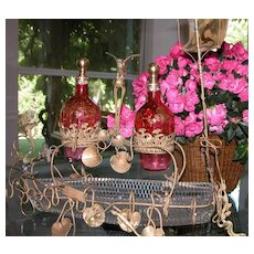 Moser Victorian Bottles Glass Ship Holding Antique Crystal Decanters w/ Enameling