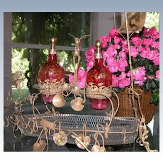 Victorian Glass Ship Holding Antique Crystal Decanters w/ Enameling