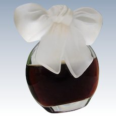 Rare Perfume Bottle with Frosted Glass Bow 1980s Rare 1 OZ