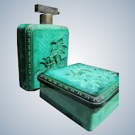 Czechoslovakian Perfume Bottle Powder Bowl Vanity Set in Malachite Glass 1920 - 1930