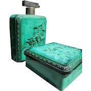Czechoslovakian Perfume Bottle Powder Bowl Vanity Set in Malachite Glass 1920 - 1930
