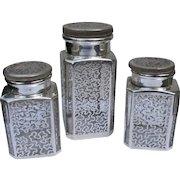 Sterling Silver Overlay Vanity Bottles 1900 Era