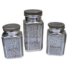 Sterling Silver Overlay Vanity Bottles Jars 1900