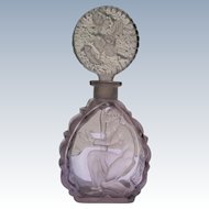 Rare Czechoslovakian Perfume Bottle Purple Crystal with Dauber 1920's-30's