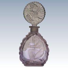 Rare Czechoslovakian Perfume Bottle Purple Crystal with Dauber 1920's-30's