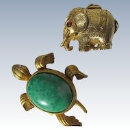 Solid Perfumes Animals Turtle and Elephant Vintage Perfume Avon Max Factor