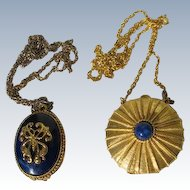 Solid Perfume Necklaces Pendants on Chains Estee Lauder Max Factor Vintage