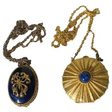 Solid Perfume Necklaces Pendants on Chains Estee Lauder Max Factor Vintage