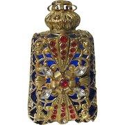 Jeweled Perfume Bottle Czech Republic 1990's Blue Glass Red Rhinestones
