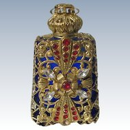 Jeweled Perfume Bottle Czech Republic 1990's Blue Glass Red Rhinestones