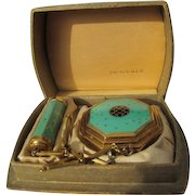 Richard Hudnut Compact Debut with Lipstick and Satin Box 1920's Cloisonne Enamel