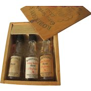 Novelty Perfume Bottles Resembles Liquor Bottles in Wood Box Robinson's 1930