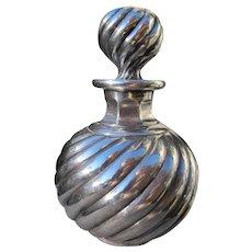 Sterling Silver Overlay Perfume Cologne Bottle 1900