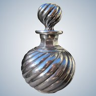 Sterling Silver Overlay Perfume Cologne Bottle 1900