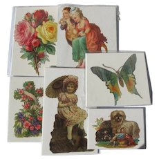 Victorian Die Cuts Germany  Dog Girl Butterfly Flowers Great Condition