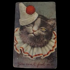 Thiele Post Card Rare Hard to Find Cat in Clown Costume Dressed Cat - Red Tag Sale Item