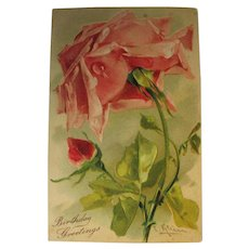 Kline Rose Post Card for Birthday Greetings Author Signed Perfect Clean Unused