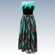 Neiman Marcus Dress Gown of Taffeta Plaid Never Worn  Size 8