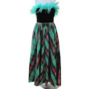 Neiman Marcus Dress Taffeta of Green Red Black Plaid Never Worn 1990 Size 8 Formal Semi Formal