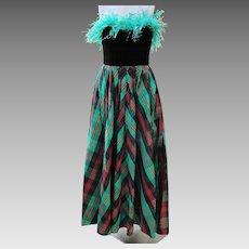 Neiman Marcus Dress Taffeta of Green Red Black Plaid Never Worn 1990 Size 8 Formal Semi Formal