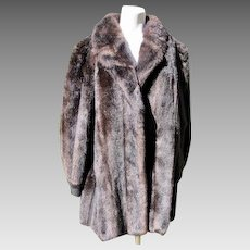 Coat Faux Fake Fur with Suede Trim Sable Mink Look Like New Condition 1980's