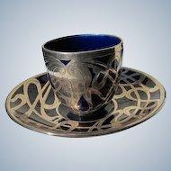 Tea Cup and Saucer Sterling Silver Overlay Cobalt Blue Art Nouveau Demitasse