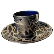 Cup and Saucer Sterling Silver Overlay Cobalt Blue Art Nouveau Demitasse Size Cup