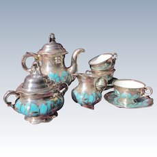 Tea Set Sterling Silver Overlay Turquoise Porcelain 1910 Hutschenreuther