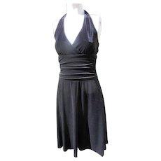 Backless Black Dress of Velvet 1990's